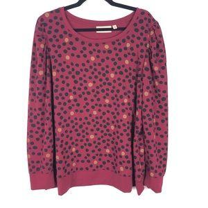 EVRI polka dot ruffled sleeve crewneck sweater D8